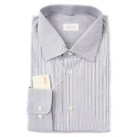 NWT $670 BRIONI Gray Stripe Cotton Dress Shirt with Panel Detail 17.5 x 36 (XXL)