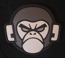 ANGRY MONKEY HEAD FACE RUBBER PVC SWAT VELCRO® BRAND FASTENER PATCH