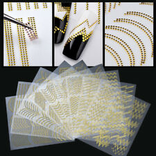 3D Rivet Métal Adhésif Nail Autocollant Stickers Stripes Wave Line Manucure DIY