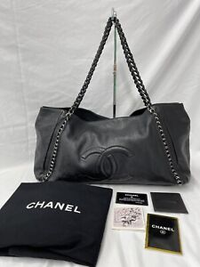 Chanel Bag Grand Shopping Soft Jumbo Caviar Leather Tote Black East West CC