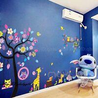Jungle Animal Safari Tree Removable Wall Decals Sticker Kids Nursery Baby Decor