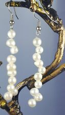 Real Fresh Water Floating Pearl Earrings  10 Pearls Single Strand Drop/Dangle