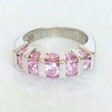 Vintage 925 Sterling Silver Ring Genuine Pink Topaz Gemstones Womens Sz 6