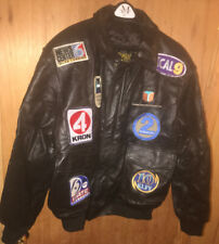 Vintage Primax 2x Black Leather Jacket w/ TONS of Television News Studio Patches