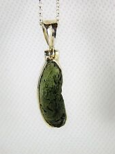 119) 925 Silver Set Moldavite Tektite Crystal Pendant + Silver Chain Necklace