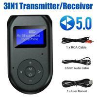 3 in1 Bluetooth 5.0 Transmitter Receiver Wireless Audio TV 3.5mm V7Y4 M6O0