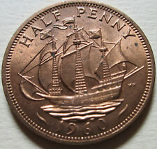 1960 Great Britain Half Penny Coin. RED GEM UNC. (W218A)