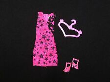 Barbie Doll Clothes Adorable Hot Pink Fashionista Dress. Shoes, Hanger (B70)