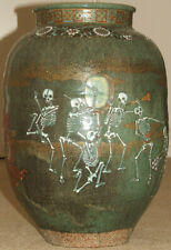 BIG Antique Japanese SETO WARE Vase Dancing SKELETON Band Seated Buhhda Citipati