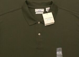 Covington Performance Polo Easy Care Shirt, Olive Green, 100% Cotton, Mens XL
