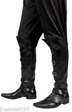 Para Hombre Steampunk Pirata Medieval Negro Fancy Dress Costume zapato bota cubiertas superior BN