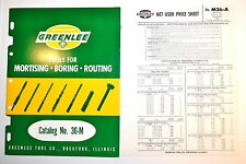 Vintage GREENLEE TOOLS FOR MORTISING BORING ROUTING CATALOG No. 36-M #RR486