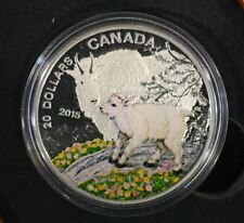 1 oz. Fine Silver Coloured Coin – Baby Mountain Goat – Mintage: 7,500 (2015) RCM