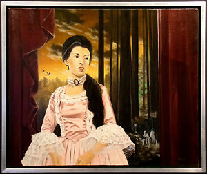 """Del Holt """"Countess Holstein"""" Signed Original Oil Painting on canvas, surrealism"""