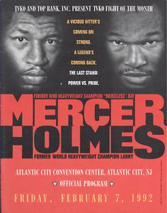 Original Vintage 1992 Larry Holmes vs. Ray Mercer Fight Boxing Program Scorebook