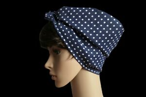 Rosie the Riveter hair scarf blue spotted pin up land girl headscarf polka dots