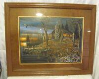Jim Hansel framed print, fishing cabin in the woods, nice