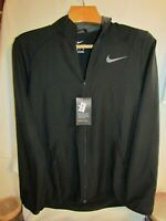 Men's Nike Dri Fit Training Jacket Paramount Full Zip Black with Grey Swoosh
