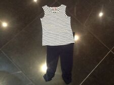 Juicy Couture New White /Blue Cotton T.Shirt & Leggings Set Baby Girl 6/12 MTHS