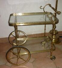 Trolley Bar charriot thé roulant desserte Maison Jansen Laiton bronze doré 50's