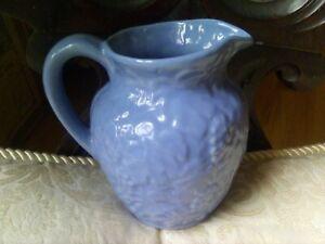 "UHL Pottery Yellow Ware Stoneware Grapes&Leaves blue glaze #183 milk pitcher 6""!"