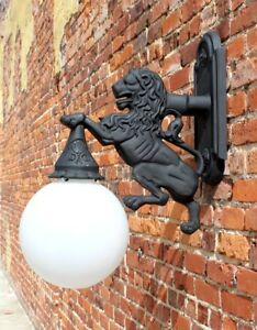 Lion Sconce Wall Mount Light Indoor or Outdoor Detroit Fixture Metal
