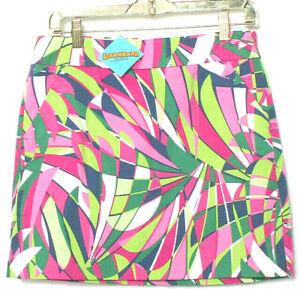 Loudmouth Womens Pink Green Leaf Print Pockets Cotton Skort Skirt NWT 4