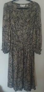 Vintage ALBERT NIPON 100% Silk Floral Dress Size 14 new
