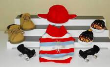 5pc Boy Build-A-Bear Shoe & Outfit LOT Black Adjustable Skates Shoes Boots Hat