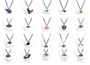 """NFL 18"""" Sports Beads With Medallion Necklace Rico Industries"""