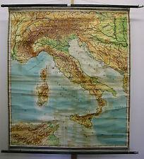 Schulwandkarte map Italien Italia Apennin Alpen Adria Triest Zone 150x177c ~1953