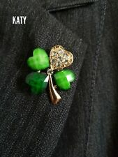 Good Luck Diamante Brooch Crystal 4 Leaf IRISH Green Clover  Pin Wedding Bridal