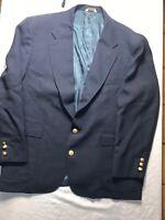 Vintage Hunt Valley Mens   2-Button Sports Coat Blazer Navy Blue