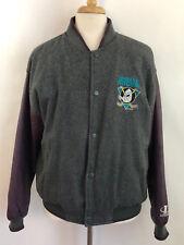 Vintage 90's LA Logo Athletic NHL MIGHTY DUCKS L Leather Wool Bomber Jacket Coat