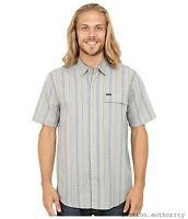 VOLCOM STONE CHINCHESTER SS Button Up Short Sleeve Slim Fit Gray Mens NWT/NEW