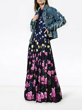 $1975 Mary Katrantzou Pussy Bow Duritz Pleated Rainbow Lillies Maxi Dress 6 UK10
