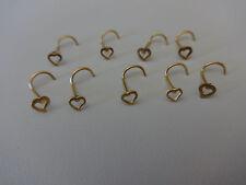 1 GOLD Herz Nase gebogene Nasenpiercing Heart nose pin Nostril ohr ear