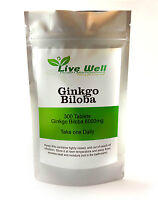 Live Well Ginkgo Biloba Leaf Extract.High strength 6000 mg, UK manufacture