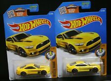 2 NEW HOT WHEELS MUSCLE MANIA 2015 FORD MUSTANG GT YELLOW 1/10 RED LINE