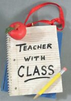 Christmas 60147 Ornament Teacher With Class Resin Book Notebook Pencil Apple