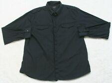 Guess Dress Shirt XXL Black Button Front Long Sleeve Mens Mans 2XL Slim Fit Top