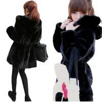 Kids Girls Rainbow Faux Fur Black Hooded Parka School Jackets Outwear Coats 5-13