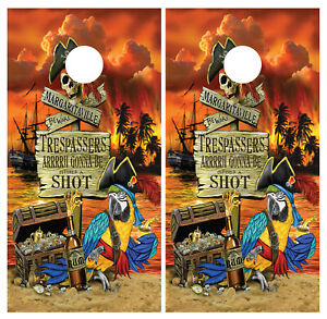Margaritaville Beach Cornhole Board Wraps Skins Vinyl Laminated HIGH QUALITY!