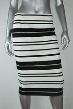 Calvin Klein New Womens Black White Striped Textured Pencil  Skirt  Size 4