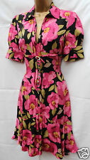 Karen Millen 40's Black Pink Silk Floral Shirt Tea Cocktail Party Dress SZ 10 38