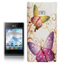 Hardcase Strass für LG E400 Optimus L3 Schmetterlinge bunt weiß Cover Case
