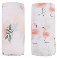 Bamboo Muslin Baby Swaddle Blanket – 2 Pack Floral & Flamingo Print