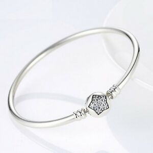 Stunning 21cm  925 Sterling Silver With Pave Star Cubic Zirconia Charm Bracelet