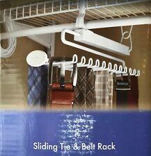 CLOSETMAID Sliding Tie & Belt Rack - 24-Hooks for Scarves, Belts, Ties - White
