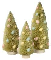 Bethany Lowe Spring Green Bottle Brush Trees with Pastel Easter Eggs Set of 3